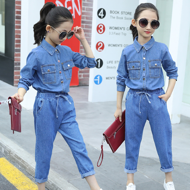 Casual Girls Clothing Sets Autumn Clothes Long Sleeve Denim Shirt Kids Denim Spring Outfits Girls Jeans Set