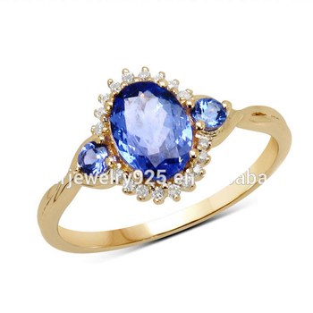 14K Gold Sterling Silver Tanzanite Sapphire Diamond Ring