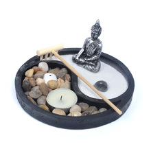 Deluxe Yin and Yang Zen Garden set buddha sand table with Incense Holder for Office Home Meditation and Relaxation Gift