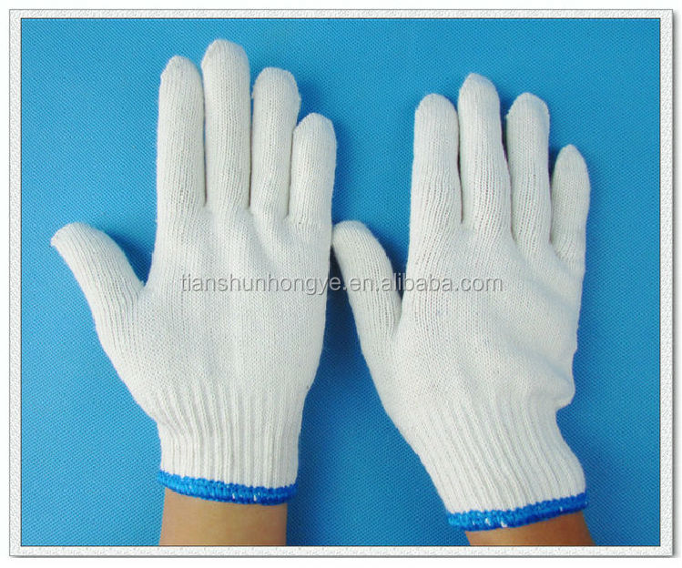 Natural/belach white cotton knitted hand Gloves