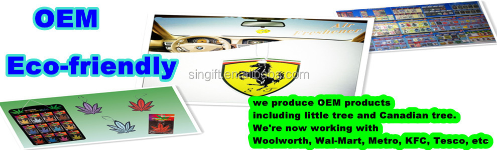 Custom Hanging Air Freshener for promotion(ecofriendly)