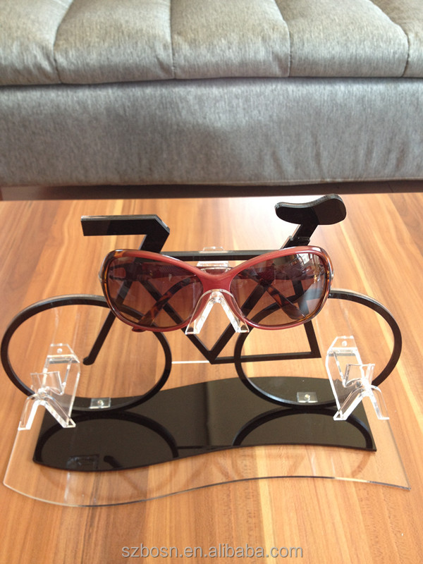 Colorful bicycle shape good quality rotating acrylic sunglasses display stand with sunglass display stand for sale