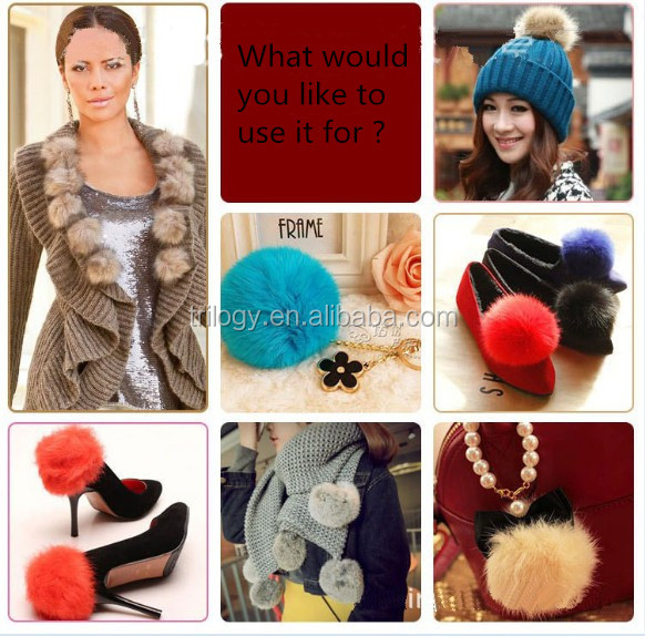 fashion double red faux fur ball bag charm with leafs 2016 new design pom pom keychain