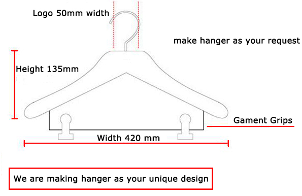 guangxi made wooden jacket clothes hanger with black bar