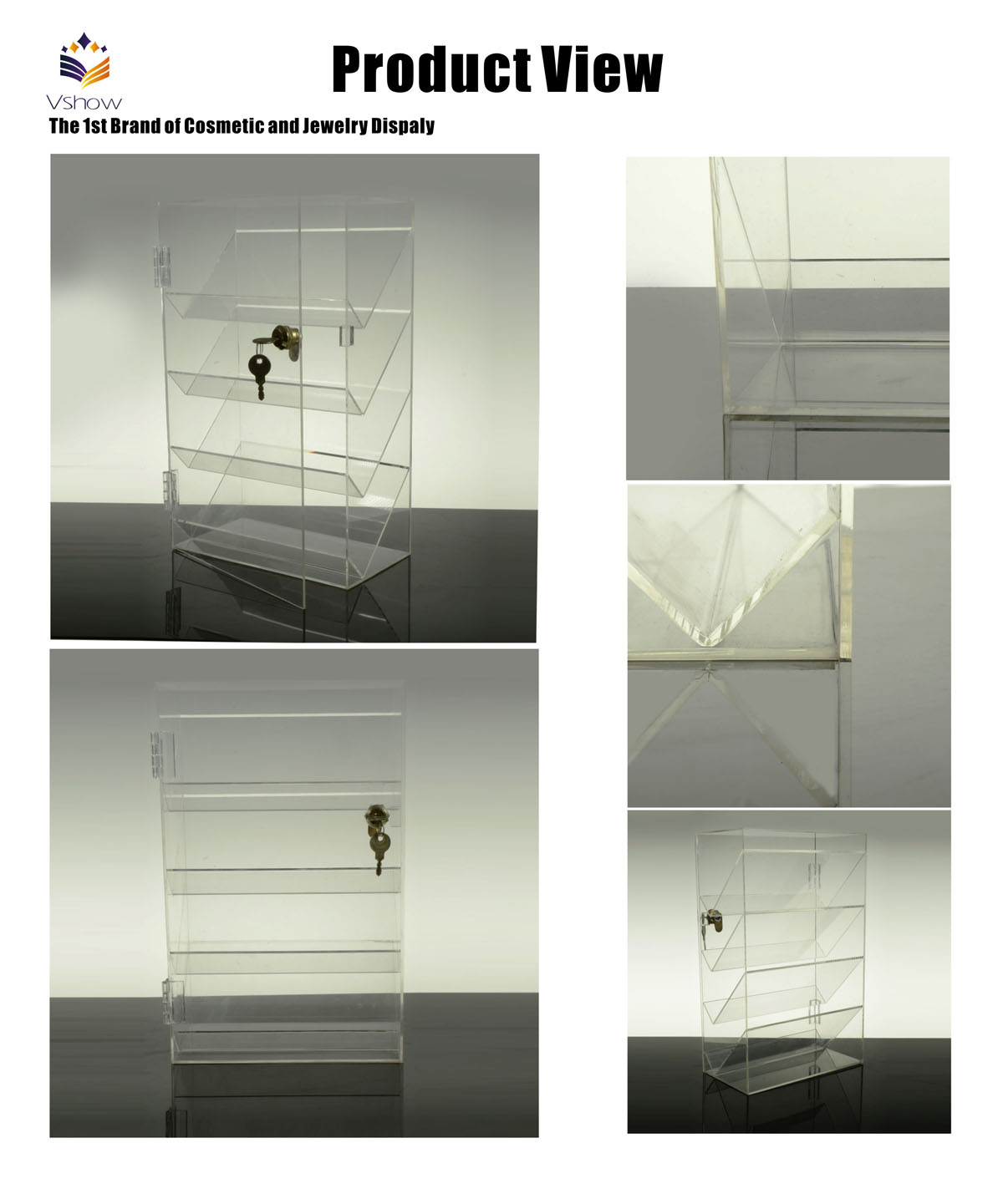 countertop clear acrylic adjustable display shelves for jewelry with lock