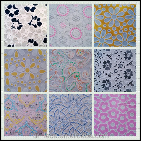 100% polyester milk silk yarn embroidery  lace fabric for dress