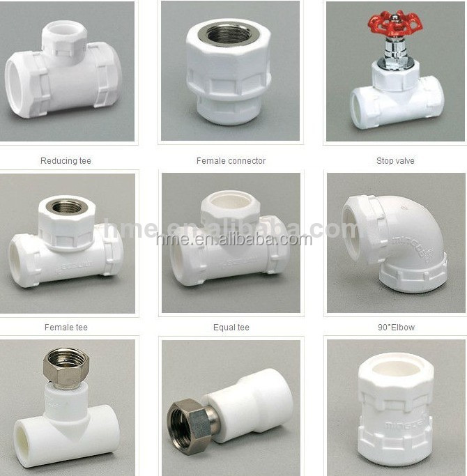 Ppr names pipe fittings ppr plumbing pipe and fittings for Plastic plumbing pipe types