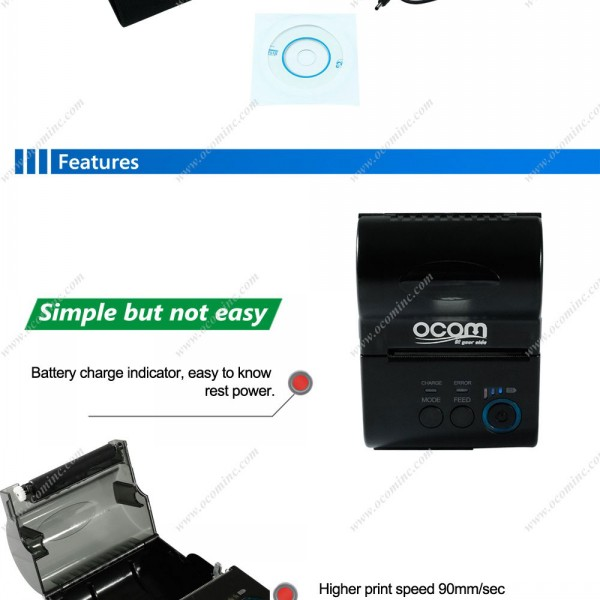 2 Inch Car Charger Available Mini Bluetooth Thermal Receipt Taxi Printer