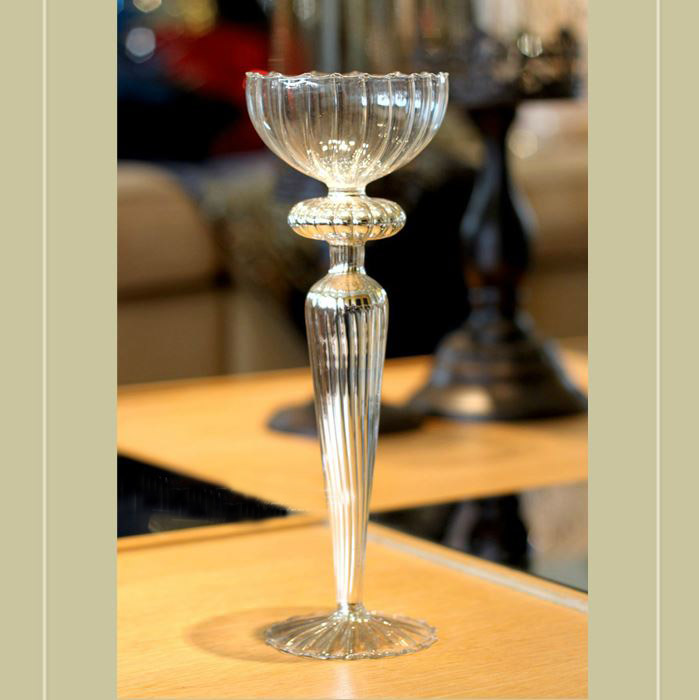 Wholesale mercury long-stemmed glass candle holder