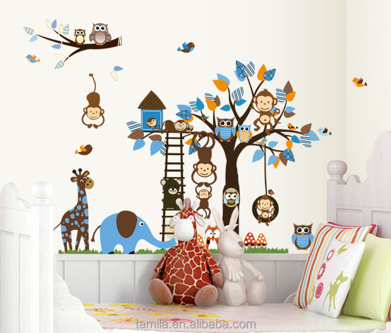 2018 Extra Large Size Kids Cartoon Monkey Giraffe Owl Bird Wall Stickers