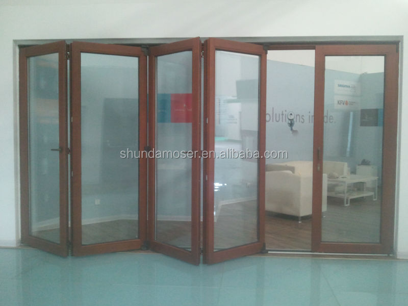 Folding Door Sound : High quality solid wood soundproof double glazed folding