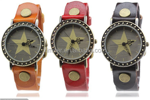 Punk style genuine leather personalized watches