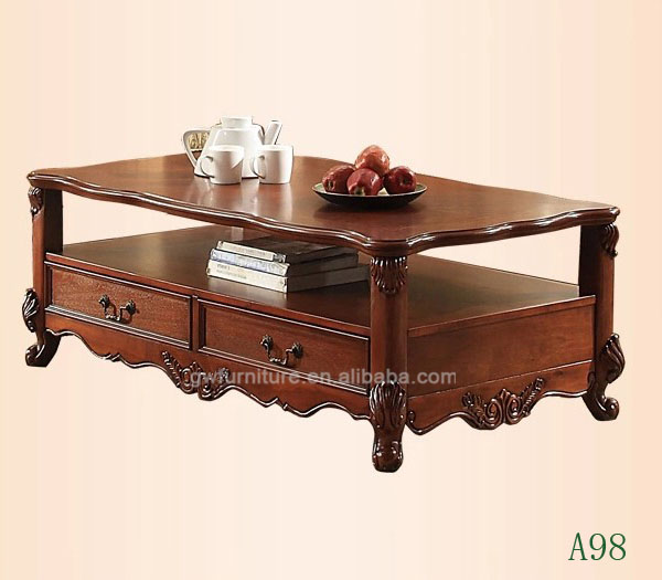 Solid Wood Carved Coffee Table: Hand Carved Classic Solid Wood Living Room Center Table