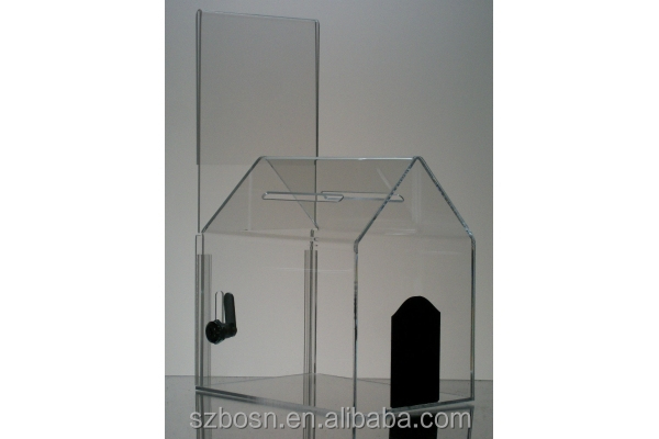good price house shape locable acrylic ballot box acrylic donation box