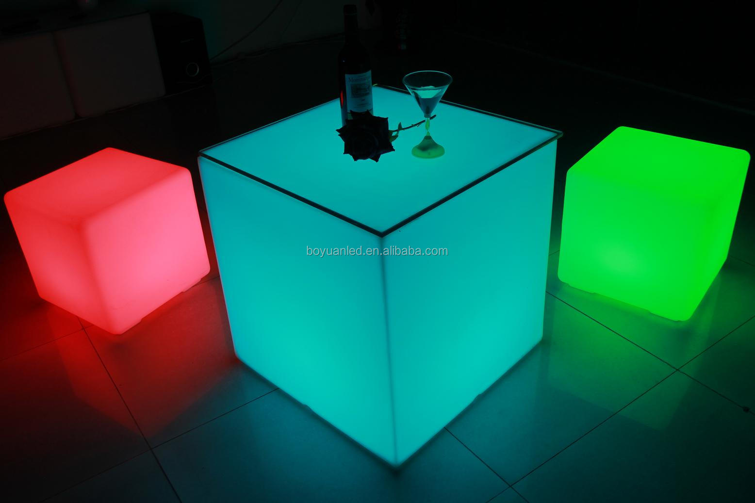 led plastic cube lighting stackable step stool chair