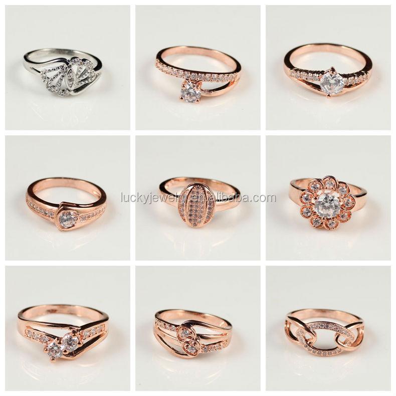 Rose Gold Beautiful Color Fashion Style American Diamond Finger ...