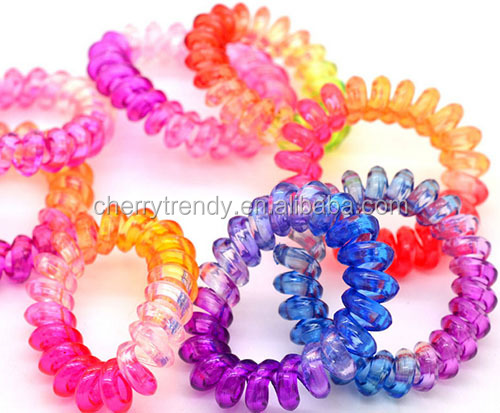 Multicolor elastic telephone wire bracelet