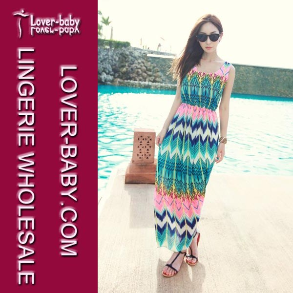 Modern Ankle-length Mature Sleeveless Lady's Colorful Beach Dress
