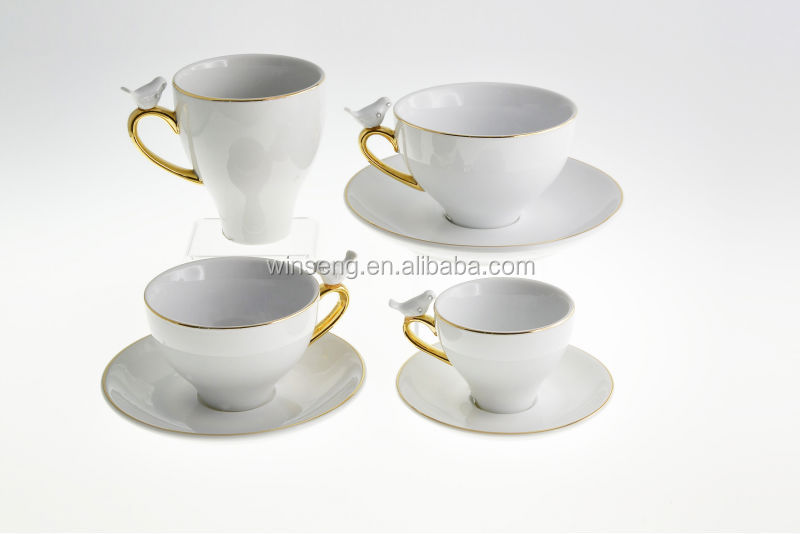 Alibaba Express Porcelain Bird Series Small Tea Cup 2 Sets With Gold Color Handle And Swarovski Crystals WS190-6193-BI(G) 2/S