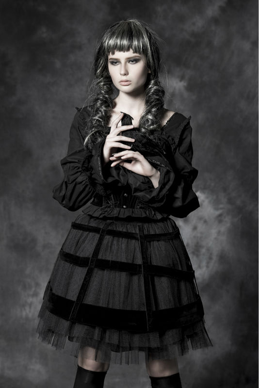 China supplier gothic punkrave dark design skirts and blouse LQ-065