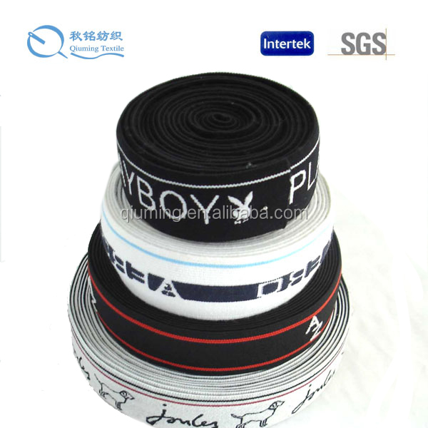 Polyester yarn and rubber material elastic jacquard webbing