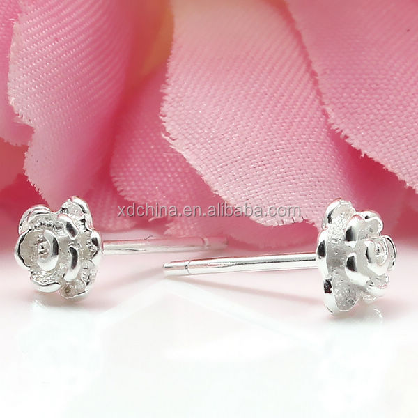 XD X133 925 sterling silver stud earrings rose shape fancy stud earrings