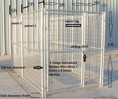 temporary dog fence panel with waterproof roofchain link dog cage