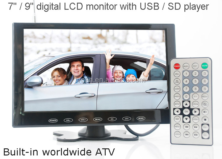 VCAN0951 9 inch LCD monitor with USB SD mp5 player Bulitin Analog TV