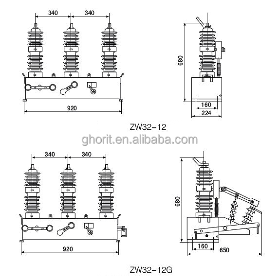 12kv 32kv 33kv VCB ZW32-12 high voltage outdoor alternationg vacuum circuit breaker