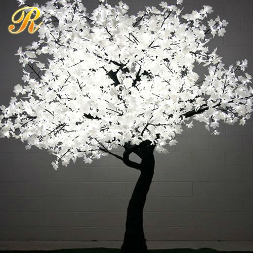 Outdoor white led lighted maple tree