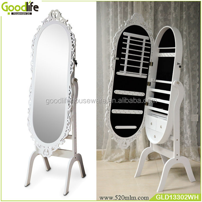 white wooden cheap furniture free standing mirror jewelry armoire