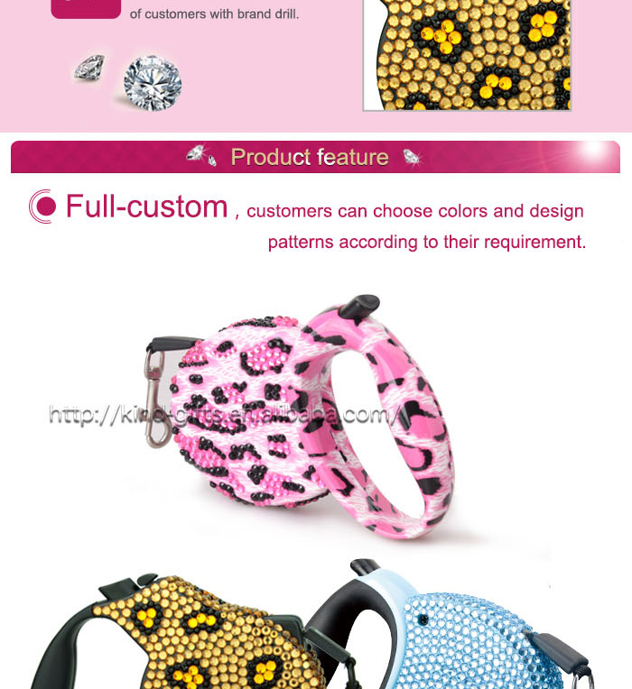 Bling Crystal High Quality Leashes, Hands free running dog leash