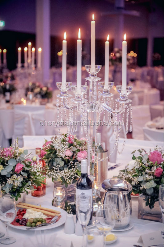 Crystal Candelabra Centerpiece With Flower Bowl Ball Wedding Table Top Chandeliers MH