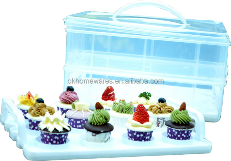 Snap N Stack Cupcake Carrier Two Tier Cupcake Carrier plastic cake box