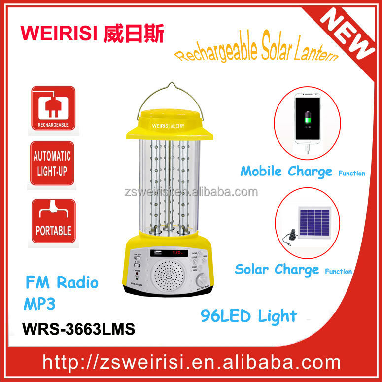 96LEDRechargable Portable Solar Light with FM Radio & MP3 & USB Mobile Charger (WRS-3663LMS)
