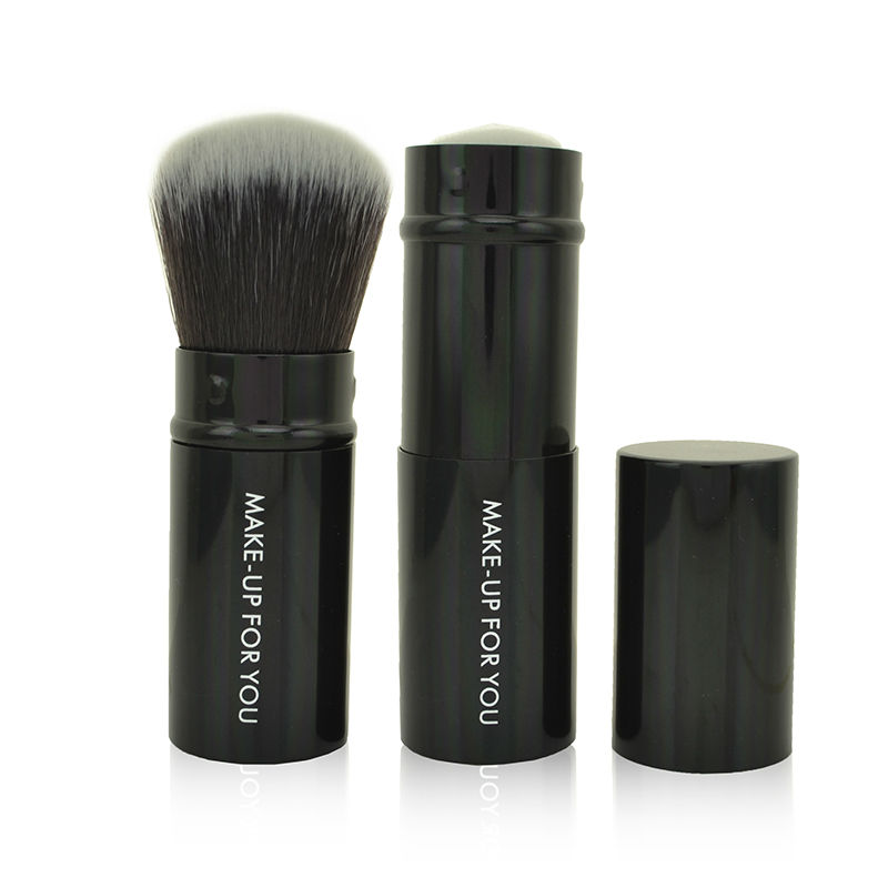 Free Shipping Professional Imported Synthetic Hair Black Aluminum Ferrule Brand Retractable Brushes Powder Brush Blush Brush