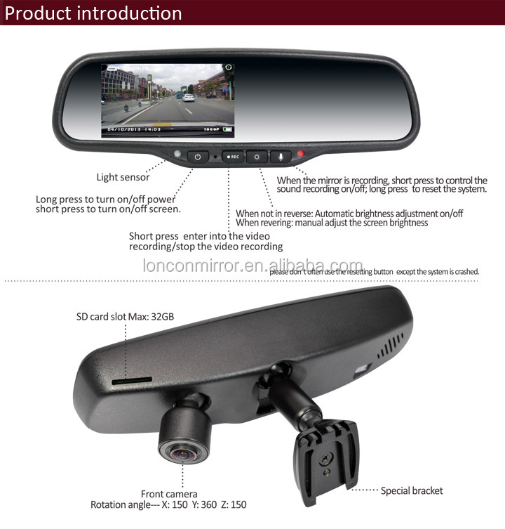 "Full HD DVR Mirror 4.3"" with parking mode, motion detection, G-sensor"