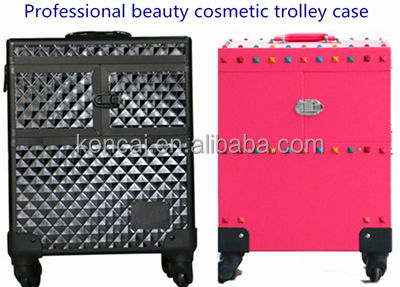 Factory wholesale trolley rolling nail polish case wooden cosmetic box