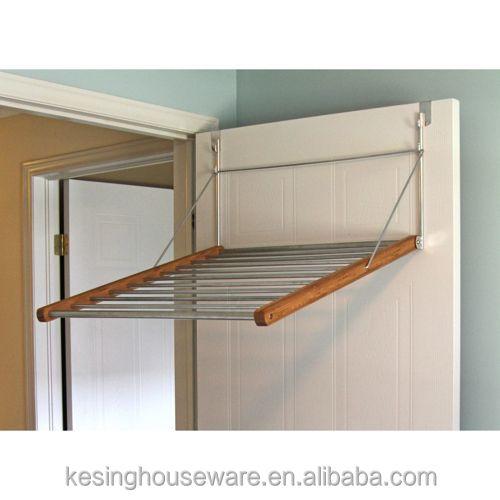 Fold Away Bamboo Over Door Drying Rack Overdoor Hanger