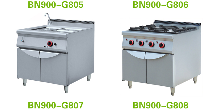Restaurant kitchen equipment Gas range 4 burners with griddle and oven