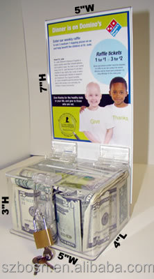 Transparent cheap good quality acrylic donation boxes for sale with CE/SGS approved