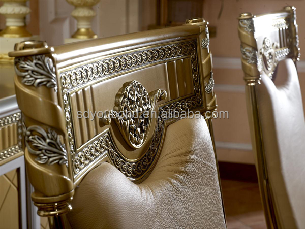 0016 High End Solid Wood Italian Dining Table Gold Furniture Glass Top