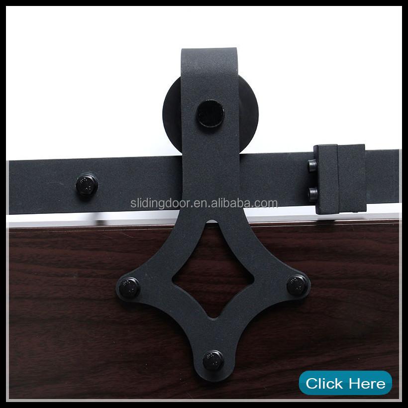 Heavy duty horseshoe black rolling barn door hardware kit for Rolling barn door hardware