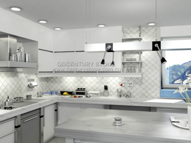 Carrara marble backsplash tiles