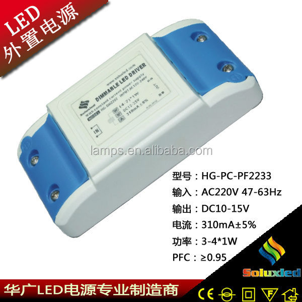 China Soluxled pcb led power supply with PF 0.95 3-4W 10-15V 310mA