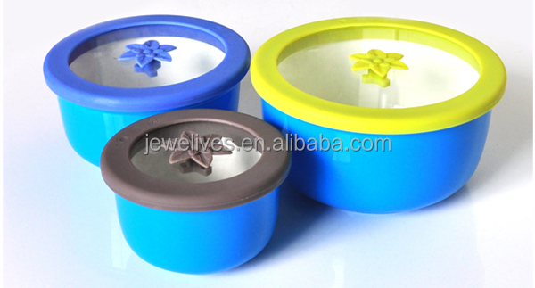 Set of 3 Ceramic fresh bowl,salad fresh bowl with glass and silicone lid