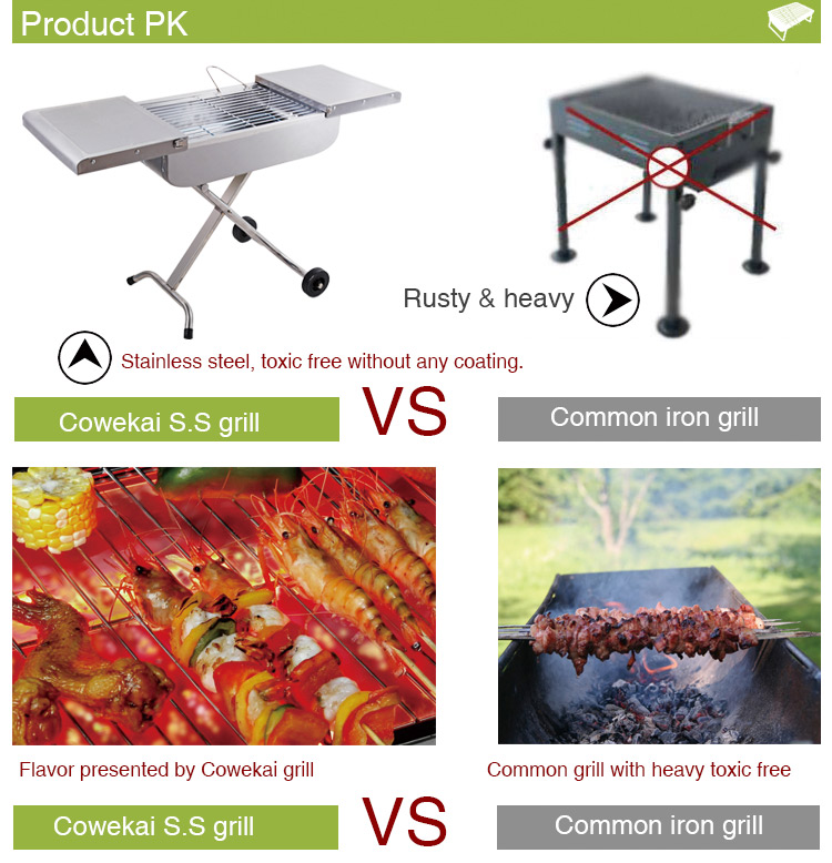 High quality stainless steel trolley grill barbecue