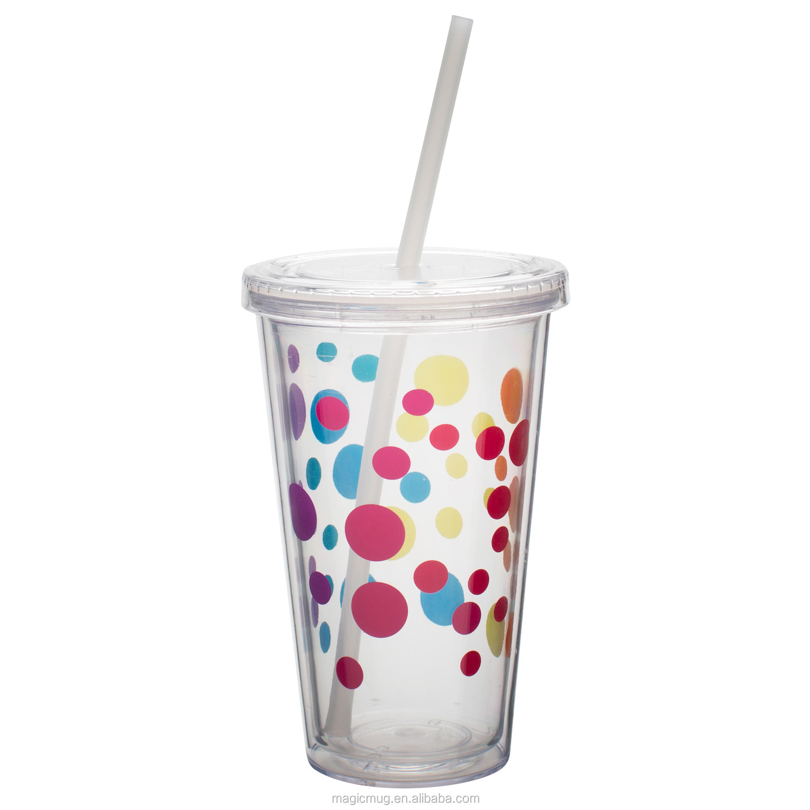 Insulated Plastic Drink Cup Glass With Curly Crazy Straw