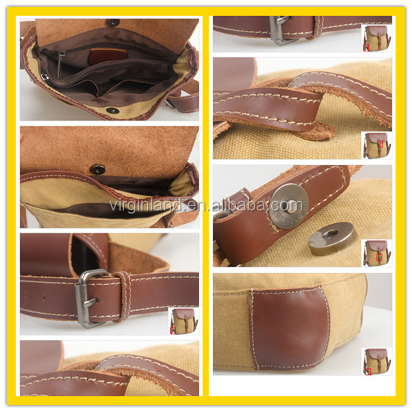 High quality Vintage OEM Genuine Leather and Canvas Bag for Men Wholesale for sale China Alibaba Supplier