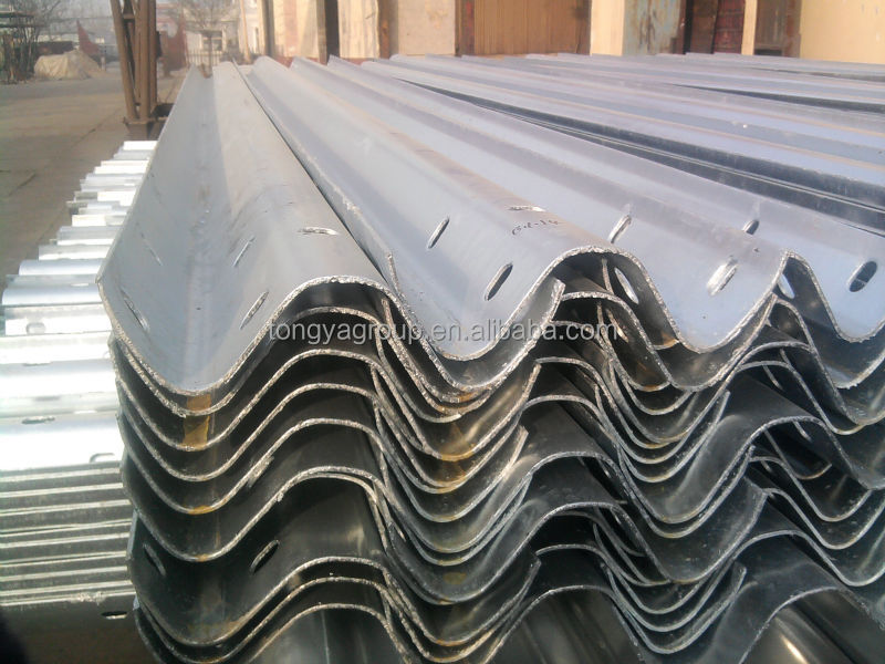 corrugated steel highway guardrail